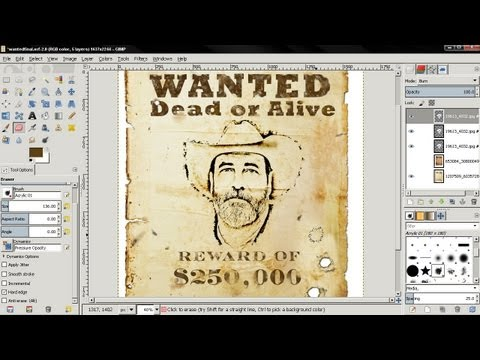 Wanted Poster (add yourself) - GIMP Tutorial For Beginners