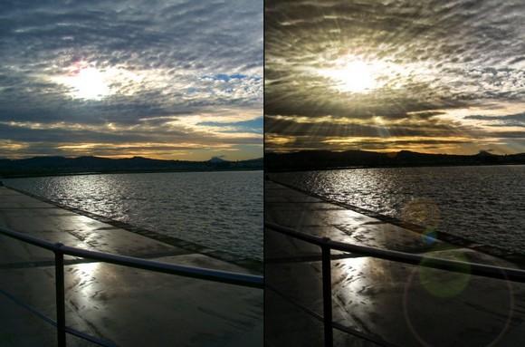 солнечные лучи эффект