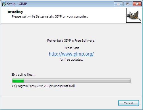 как установить GIMP 2.6