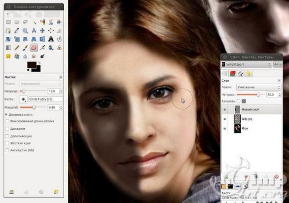 как заменить лицо на фото в gimp